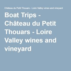 Boat Trips - Château du Petit Thouars - Loire Valley wines and vineyard