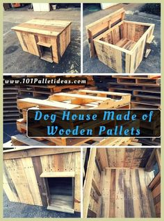 Dog House Made of Wooden Pallets is part of Dog house diy - Just have a look at this DIY pallet dog house which is sure to win your heart with its gorgeous design and shape Cut out the pallets into slats and built a box Pallet Dog House, Wooden Dog House, Wooden Dog Kennels, Large Dog House, Pallet Dog Beds, Build A Dog House, Dog House Plans, Diy Dog Kennel, Pet Kennels