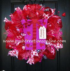 Deco Mesh Valentines Day Wreath   So cute!