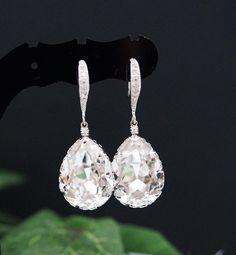 Wedding Jewelry Bridal Earrings Bridesmaid Earrings Dangle Earrings Clear White Swarovski Crystal Te on Luulla