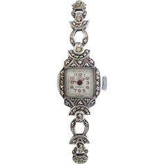 Vintage c1950 Swiss Camy Sterling Silver Marcasite Watch, Restored & Working