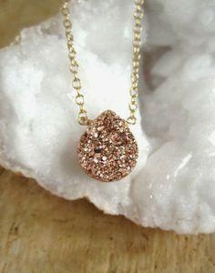 Rose Gold Druzy Necklace