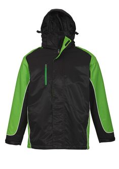 UNISEX NITRO JACKET - BLACK/GREEN/WHITE J10110 - BIZ COLLECTION Rugby, Motorcycle Jacket, Unisex, Hoodies, Green, Jackets, Collection, Black, Tops