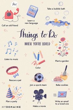 Ideen gegen Langeweile zu Hause während der Corona-Quarantäne, neue Fremdsprache erlernen, Musik hören, ausmalen oder gärtnern, Party planen, Kekse backen Productive Things To Do, 100 Things To Do, Things To Do When Bored, Bored Jar, Good Luck Symbols, Fun Crafts To Do, Stress Relief Tips, Leaving Home, Learn A New Language