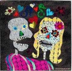 Day of the Dead Couple Original Foil Collage 4x4 | ArizonaAhoteArt - Folk Art & Primitives on ArtFire
