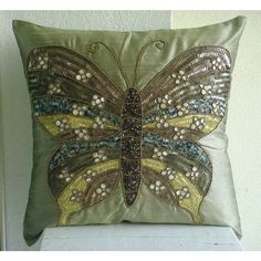 Butterfly Envy - Throw Pillow Covers - 16x16 Inches Silk Pillow Cover Embroidered with Sequins and Beads