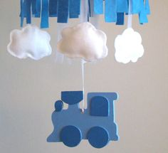 coolest mobile with Train, Clouds & Blue Sky for your Nursery by FairyLandCreations #boebot #Etsy