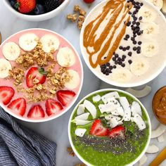 Smoothie Bowl (3 Ways) - Fit Foodie Finds Yummy Smoothies, Smoothie Recipes, Homemade Smoothie Bowl, Great Breakfast Ideas, Breakfast Meals, Matcha Latte Recipe, Banana Nice Cream, Strawberry Smoothie, Natural Peanut Butter
