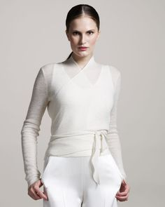 The Row Angela Ballet Wrap Sweater in White (ivory)   Lyst