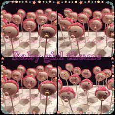 Baby girl themed cake pops for a baby shower