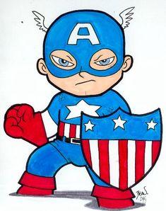 Chibi-Captain America 4. by hedbonstudios.deviantart.com on @DeviantArt