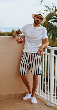 Coolest Pool Party Outfits Or Beach Party Looks to Steal Pool Party Dresses, Beach Party Outfits, Miami Outfits, Summer Outfits Men, Outfits With Hats, Cool Outfits, Latest Beard Styles, Party Shirts, Party Looks