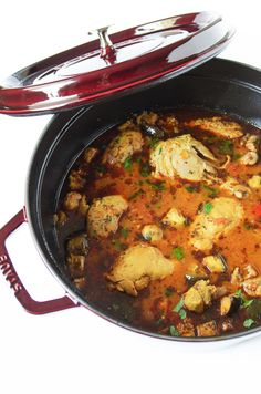 Easy and delicious Moroccan Chicken Stew with Eggplant.