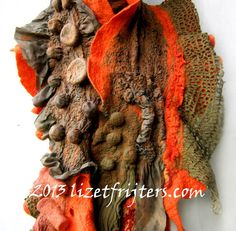 Orange Red and Khaki Green Wavy Ruffled Nuno Felted Shibori Scarf with Bubbles- Eco Fashion - Fibre Art - Statement Scarf Nuno Felt Clothing