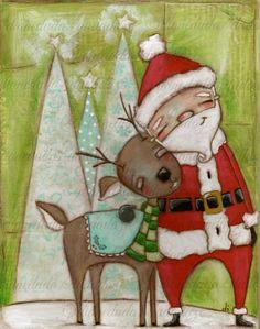 "Original Mixed Media Folk ARt Christmas Painting  by DUDADAZE, $85.00 ""Travelin' Buddies"" ©dianeduda/dudadaze"