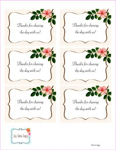 The Beautiful Wedding Favor Tags as our identity: free printable wedding favor tags