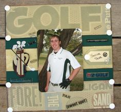 Senior Year Golf - Scrapbook.com School Scrapbook Layouts, Kids Scrapbook, Scrapbooking Layouts, Scrapbook Cards, Golf Theme, Page Layout, Senior Year, Scrapbooks, Cork Boards
