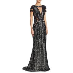 Talbot Runhof Sequin Velvet Gown ($3,950) ❤ liked on Polyvore featuring dresses, gowns, short sleeve gown, sequin evening gowns, velvet evening gown, short-sleeve dresses and sheer gown