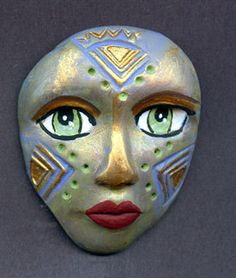 Polymer Clay One of a Kind  Spirit Doll Abstract Textured  Face Cab Un Drilled LABTR