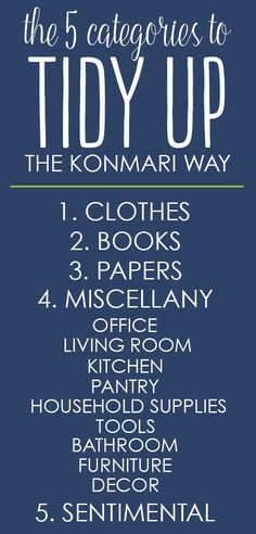 5 categories for tidying up with the KonMari method - from the Life Changing Magic of Tidying Up