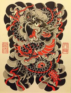 I simply adore the pigments, outlines, and detail. This is really a really good concept if you would like a Dragon Tattoo Full Back, Dragon Head Tattoo, Asian Dragon Tattoo, Small Dragon Tattoos, Dragon Sleeve Tattoos, Japanese Dragon Tattoos, Traditional Japanese Tattoo Sleeve, Traditional Tattoo Art, Traditional Ink