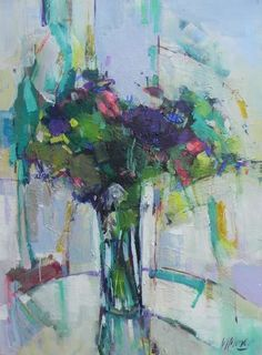 April. 60 x 80cm  Acrylic on canvas    With this painting of a bouquet of…