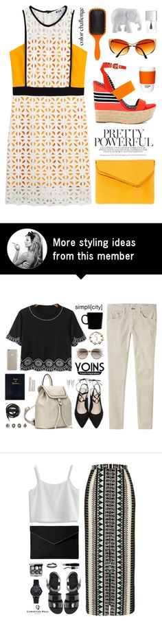 """Powerful"" by ellyg91 on Polyvore featuring MSGM, Jessica Simpson, Henri Bendel, Pantone, Denman, The Elephant Family and Lipsy"