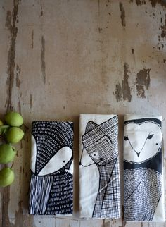 Tea Towel Bundle 3 Forest Animal Tea Towels Printed by Gingiber