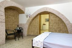 Great hotel room with preserved old wall look of Akko.
