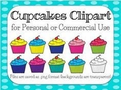 This file contains 9 brightly colored cupcake clipart saved in .png format (no backgrounds), and 1 black and white cupcake clipart.This product is for personal or commercial use. A credit to my TpT store for any commercial use products is greatly appreciated.Thanks!