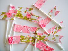 DIY Paper Flags on lollipop sticks
