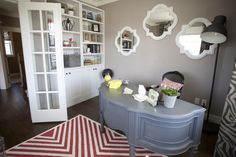 Fun and creative home office from the DIY Blogger House via @Jennifer Hadfield Tatertots & Jello {Photo by Nathan Sweet Photography}
