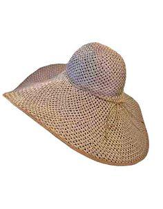 50e8dc915aab5 Luxury Divas Tan White 8″ Wide Large Brim Straw Beach Sun Floppy Hat http