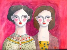 Framed water colour on paper, My sister and I, Nancy and Lydia