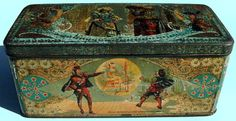 Original Dutch cigar tin named 'Magic lantern', made in Dordrecht, the Netherlands, by Widow Bekkers & Sons, around 1900. With the help of a magic lantern Faust shows this knight the image of a woman.       http://luikerwaal.com/kunstkitsch2_uk.htm