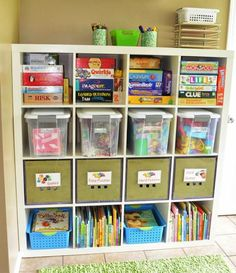 Kids cubbyhole storage shelves and boxes. From aninvitinghome.com