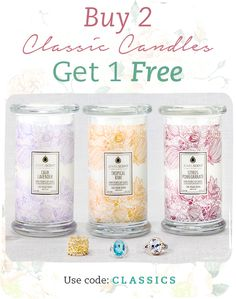 Nothing beats a classic! Stock up on these timeless scents this holiday season with our current promo! Shop here: http://bit.ly/11CWXTU Buy 2 Classic Candles and get 1 FREE! Just use code 'CLASSIC' at checkout! *Must add 3 Classic Candles to the cart in order for promo to apply at checkout. *Cannot be used with any other promo code* Offer Ends 11/22/2014 11:59 PM PST or until supplies last