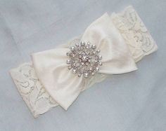 Vintage Inspired Wedding Garter with Silk Bow by JLWeddings