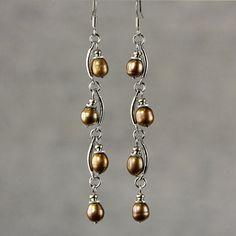 Pearl earrings drop long bridal chocolate brown by AniDesignsllc, $9.95