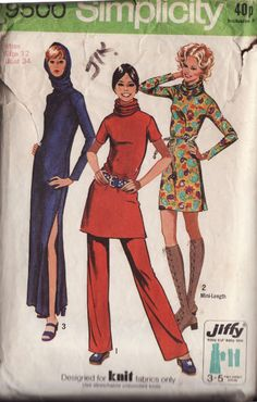 """Vintage 1970's Simplicity 9500 Hooded Dress, Top & Trousers Pattern Size 12 - 34"""" Bust"""