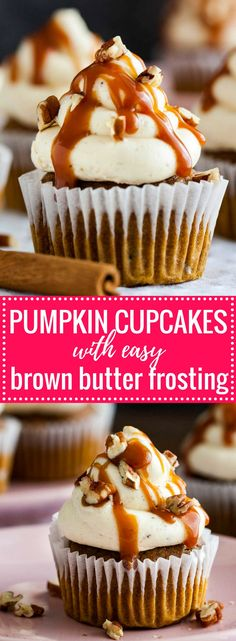 These Pumpkin Cupcakes are a must-bake this fall! Perfectly spiced pumpkin cupcakes topped with an easy brown butter frosting and drizzled with salted caramel sauce. A great dessert for Thanksgiving but also for every cozy autumn day!