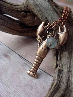 Lobster Pendant Copper Crustacean Nautical by MySelvagedLife, $18.00
