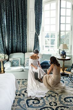 Me and my sister, Sivan, putting the finishing touches on my outfit in Chambre Lucé. She has incredible taste, so I sought her approval for every outfit decision.