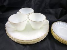 Vintage Fire King Dishes White Swirl Set 1950s Gold Trim 4