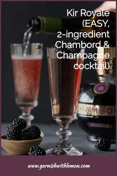Have a reason to celebrate (or just looking for one)? Add a little sophistication to your bubbly toast with this recipe for Kir Royale cocktails. Made with only two ingredients, this French Champagne drink instantly elevates any occasion. Champagne Drinks, Prosecco Cocktails, Cocktail Garnish, French Cocktails, Drinks Alcohol Recipes, Drink Recipes, Best Sparkling Wine, Fruity Drinks