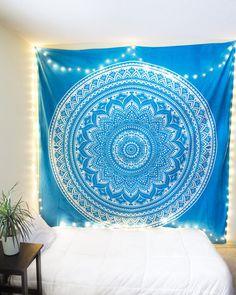 Aqua Blue & White Mandala Tapestry from https://thebohemianshop.com