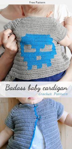 Badass Baby Cardigan Crochet Free Pattern #freecrochetpatterns #babycrochet ##sweater