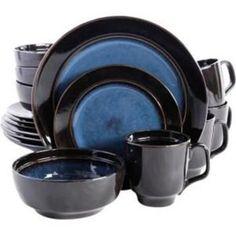 Gibson Home Paradiso 16-Piece Dinnerware Set in Black | Dinnerware ...