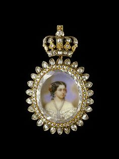 Pendant with miniature of Queen Marie of Hanover, wife of George V, Duke of Brunswick, Luneburg and King of Hanover   Silver, gold, diamonds, miniature  Mid-19th century  Private Collection, courtesy of Albion Art Institute, Japan
