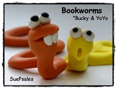 Two Polymer Clay Bookworms, Polymer Clay Reading Buddies, 3D Bookmarks, Polymer Clay Bookmarks, Fun Bookmarks, Cute Bookmarks by SuePsales on Etsy https://www.etsy.com/listing/167785221/two-polymer-clay-bookworms-polymer-clay